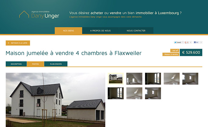 Dany Unger Immobilière website